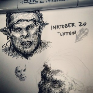 Entries 19 and 20 Quick drawings during lunch break, habol pa. 2days behind padin #inktober @tuntunduduls