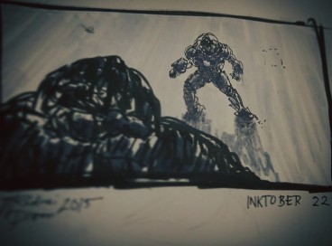 Entry 22 Tried a thumbnail of a scene, used instagram's tilt shift to blur the big guy #inktober #inktober22 #inktober2015