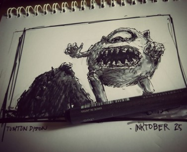 "Entry 25 for #inktober: ""Sulley's Nightmare"" @tuntunduduls original art Drew this while watching Monsters University with Mico and Meanne"